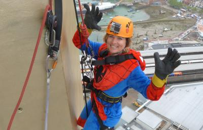 Rachel abseils 100m to raise funds for The Dream Trust