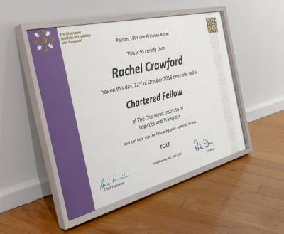 Rachel Crawford elected a Chartered Fellow of CILT