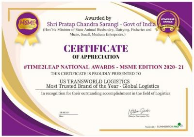 US Transworld Logistics Awarded as a Trusted Brand by the Government of India